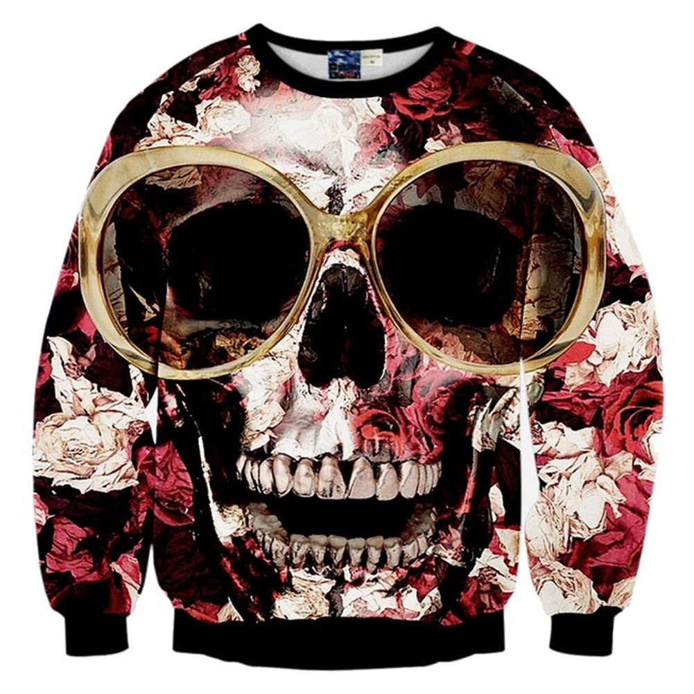 Chic Women Harajuku Glasses Roses Skull 3D Print Hip Hop Pullovers Sweatshirt