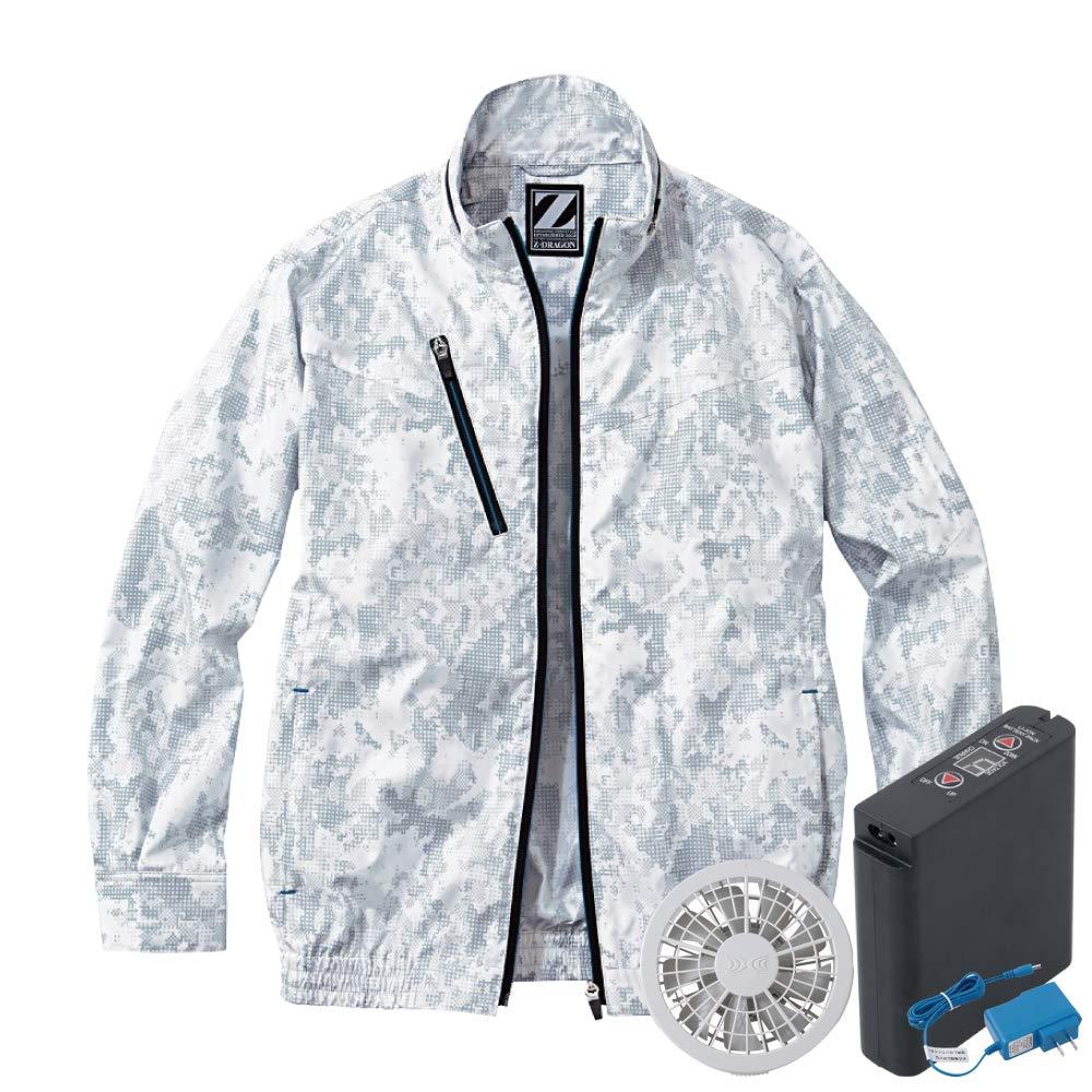 空調服 セット (フルセット) Z-DRAGON ジードラゴン 長袖 ブルゾン 撥水 ポリエステル100% 74050 全5色 シルバーカモフラ/グレーファン B07RLVFV96