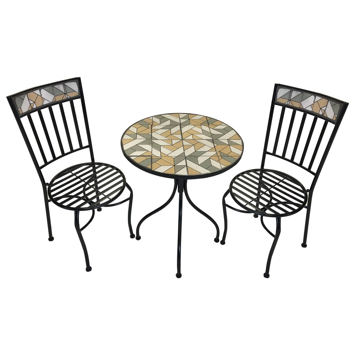 Charles Bentley 3 Pezzi Pieghevole in Metallo Bistro fissato Giardino Patio Mobili Tavola Rotonda e 2 sedie Orange