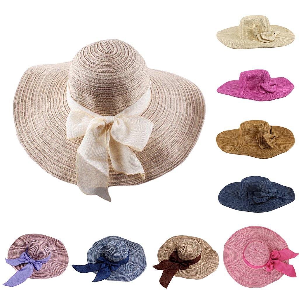 G/én/érique Les Femmes Chapeau De Plage en Paille Chapeau Large Bord pour Et/é avec Bowknot Color/é