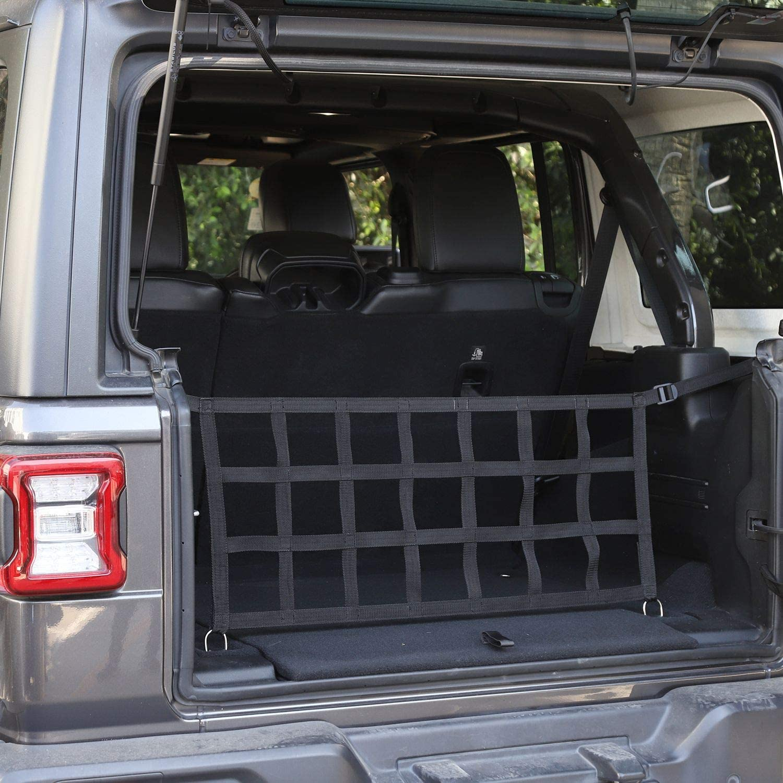 Black Car Trunk Net Mesh Cargo Net for 2018-2020 Jeep Wrangler JL JLU 2 Door /& 4 Door