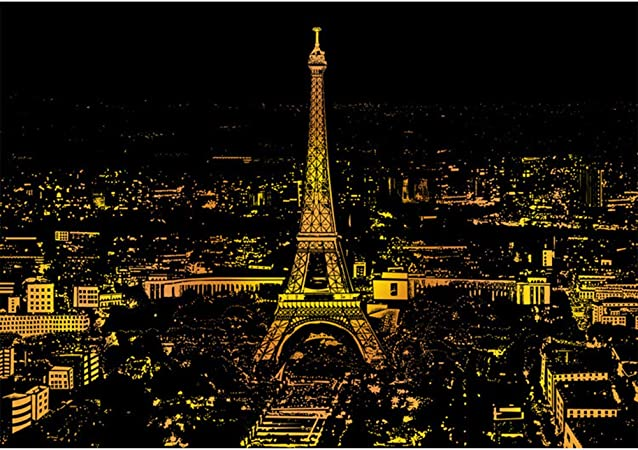 Scratch Art Painting Paper Kits 16 x 11.2 inch Paris Night View DIY Scraping Paintings Magic Scratch Art Drawing Paper Scratchboard for Adults and Kids