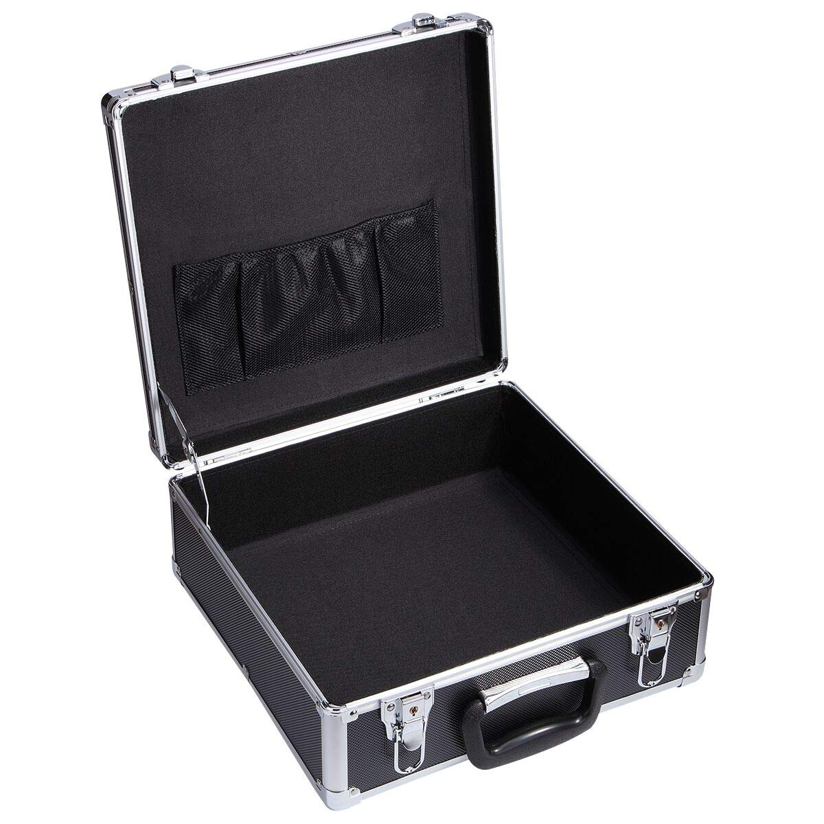 Black Aluminum Tool Boxes Hard Briefcase Functional Organizer Carrying Case,13.38''Length,13.38'' Width, Hight 5.5''