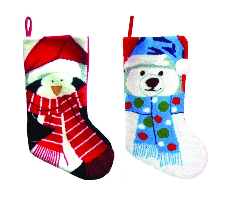 Pack of 4 North Pole Buddy Plush Penguin and Polar Bear Christmas Stockings 19''