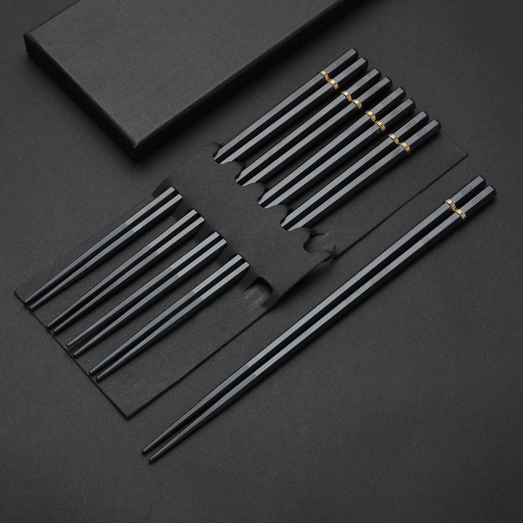 5 Pair Stainless Steel Chopsticks Gift Set Japanese Hotel Restaurant Chopsticks Set (Gold ring)
