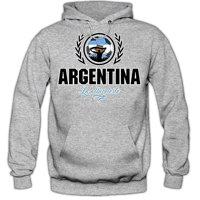 Shirt Happenz Fútbol Argentina V2 Sudadera con Capucha | Hombre | Fútbol | Equipo Nacional | Selección Nacional | Argentina | La Albiceleste | Hoody: ...