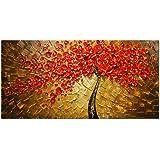 HCOZY art - rosso 100% dipinto a mano Quadri Fiori moderni su tela parete floreale olio su tela di canapa per la decorazione domestica dha652 (Senza telaio)