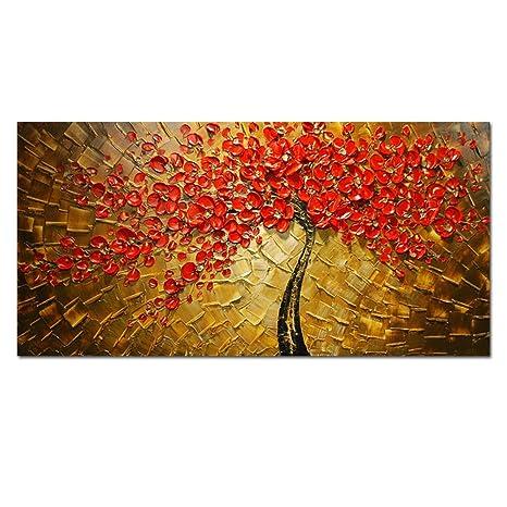 HCOZY art - rosso 100% dipinto a mano Quadri Fiori moderni su tela ...