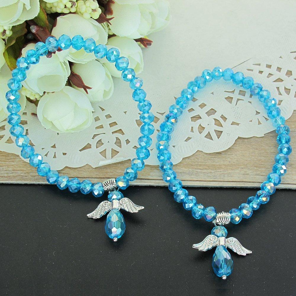 Crystal Angel Charm Bracelet Turquoise 12 PCS - Baptism Favor / Christening Favor /Recuerdos de Bautizo / Quinceanera/ Baby Shower