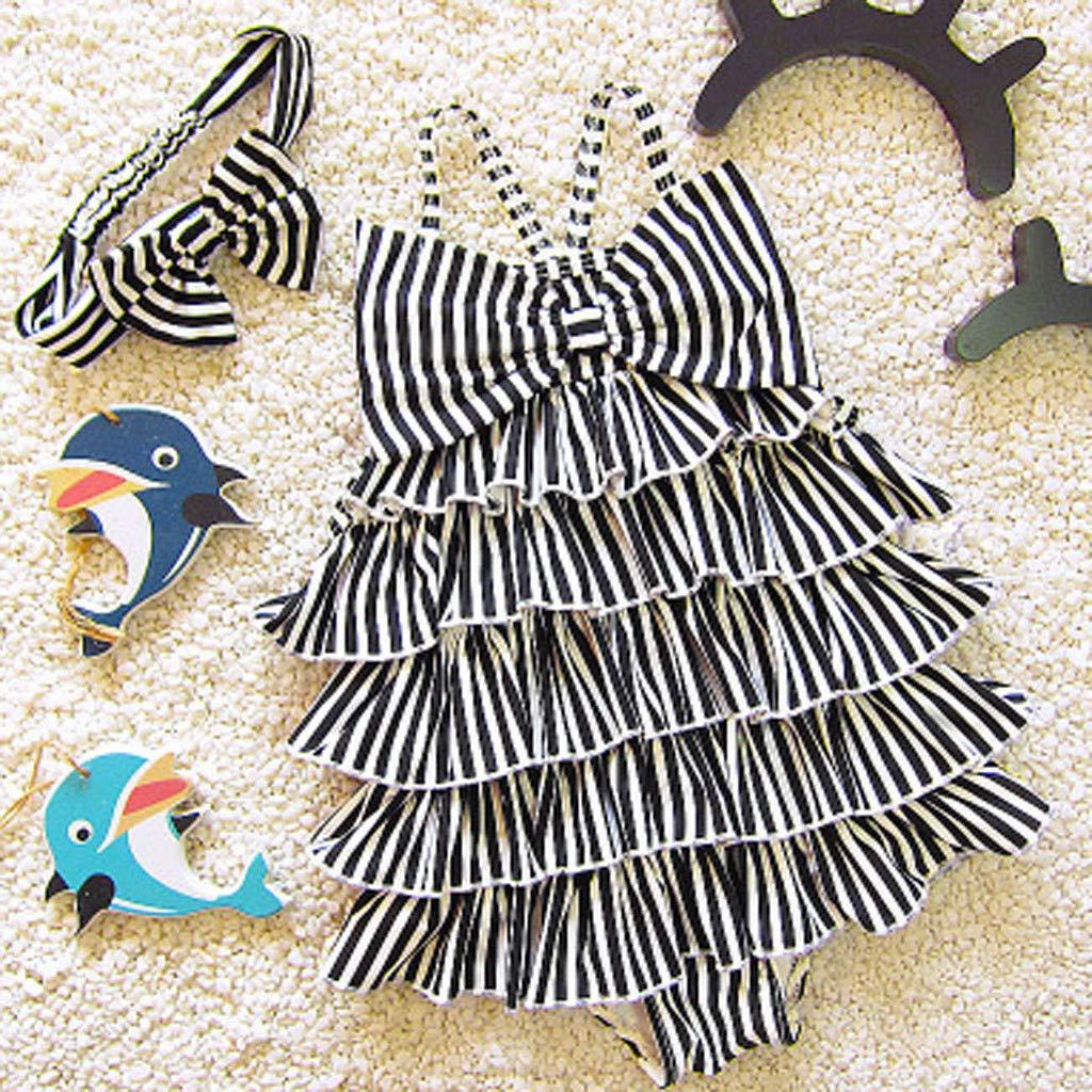 Cuekondy Toddler Baby Girls Kids Ruffles Letter Printed One Piece Swimsuit Swimwear Bikini Bathing Suit Headband Set