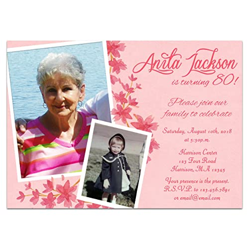 Pink Floral Photo Birthday Invitations Woman 60th 70th 80th 90th 75th ANY 85th