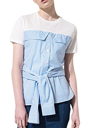 Azbro Mujer Moda Camiseta Rayada Corbata Cintura Mangas Cortas ...