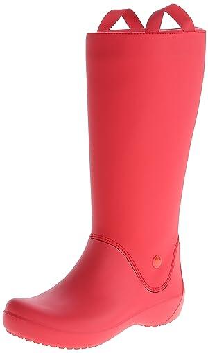 crocs Women's Rainfloe Rain Boot,Red/Red,8 M US