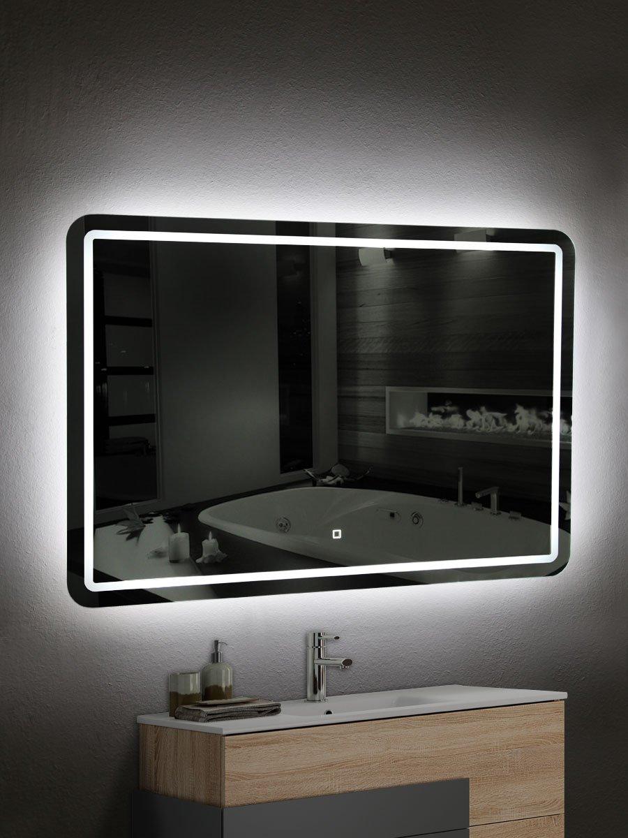 Yellowshop Specchio Specchiera Cm L.100 x H 70 A Luce Led Retroilluminato Filo Muro Bagno Design Moderno Con Touch Modello Border 107
