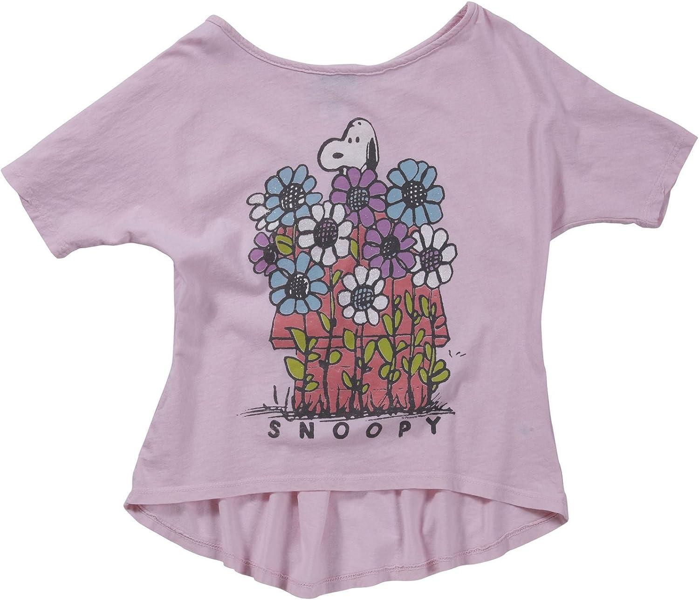 Junk Food Girls' Snoopy Glitter Tee (Toddler/Kid) - Light Pink - XL (12)