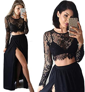 Sound of blossoming Womens Two Piece Prom Dresses Lace Long Sleeves Evening Dress Side Slit Party