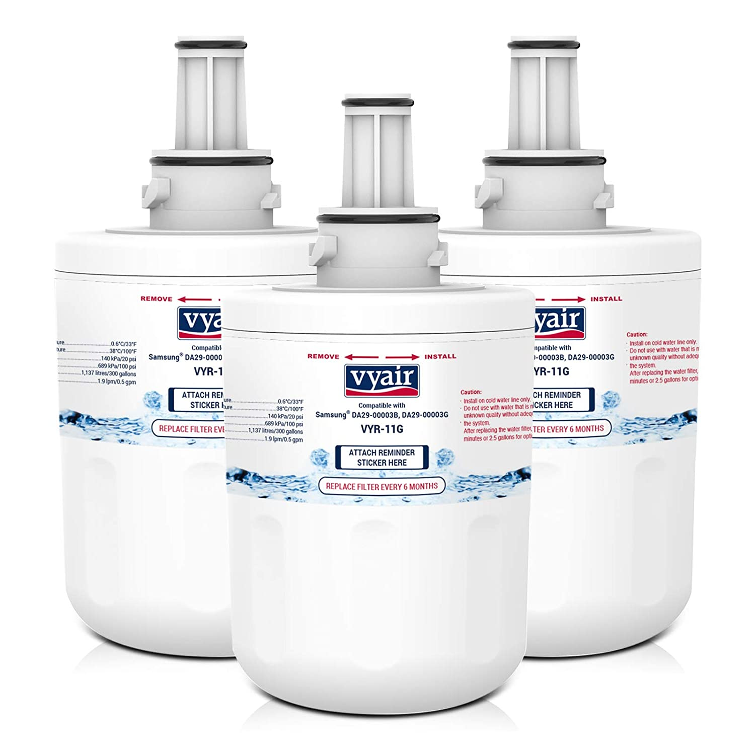 3 x VYAIR VYR-11G Ice & Water Refrigerator Filters to fit Samsung Aqua Pure PLUS DA29-00003G, HAFCU1/XAA, HAFIN1/EXP, DA97-06317A