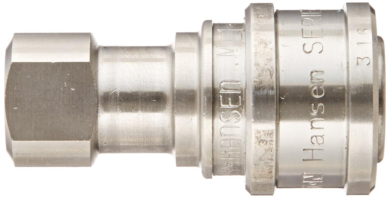 Eaton Hansen ML1H11 316 Stainless Steel ISO-B Interchange Hydraulic Fitting 1//8-27 NPTF Female Socket with Valve 1//8 Body 1//8-27 NPTF Female 1//8 Body