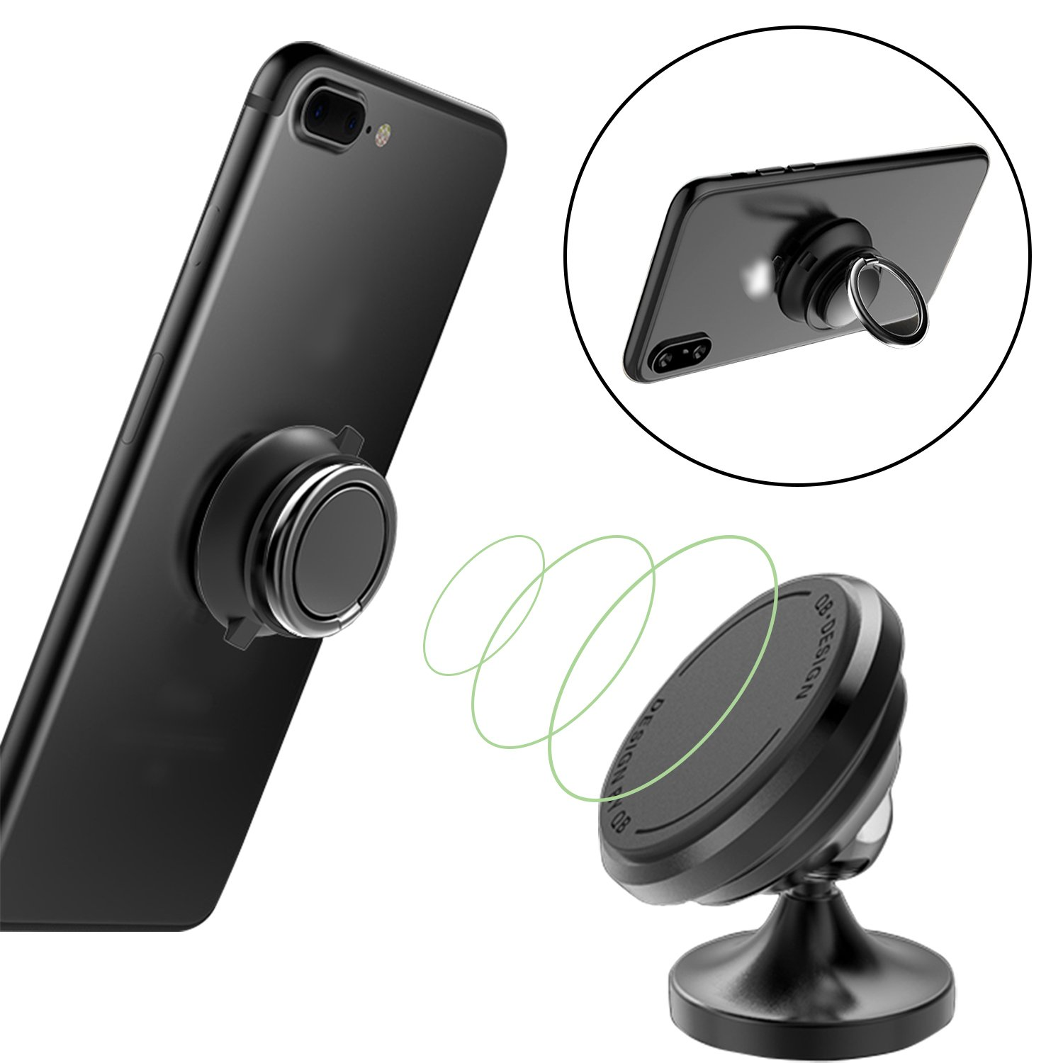 LG iPhone 7//7 Plus Universal Car Dashboard Mount Stands for iPhone X,iPhone 8//8 Plus HTC JIWINNER 4351569279 Magnetic Car Mount Holder with Phone Ring Holder ZTE Samsung Galaxy S8//S8+ BLACK