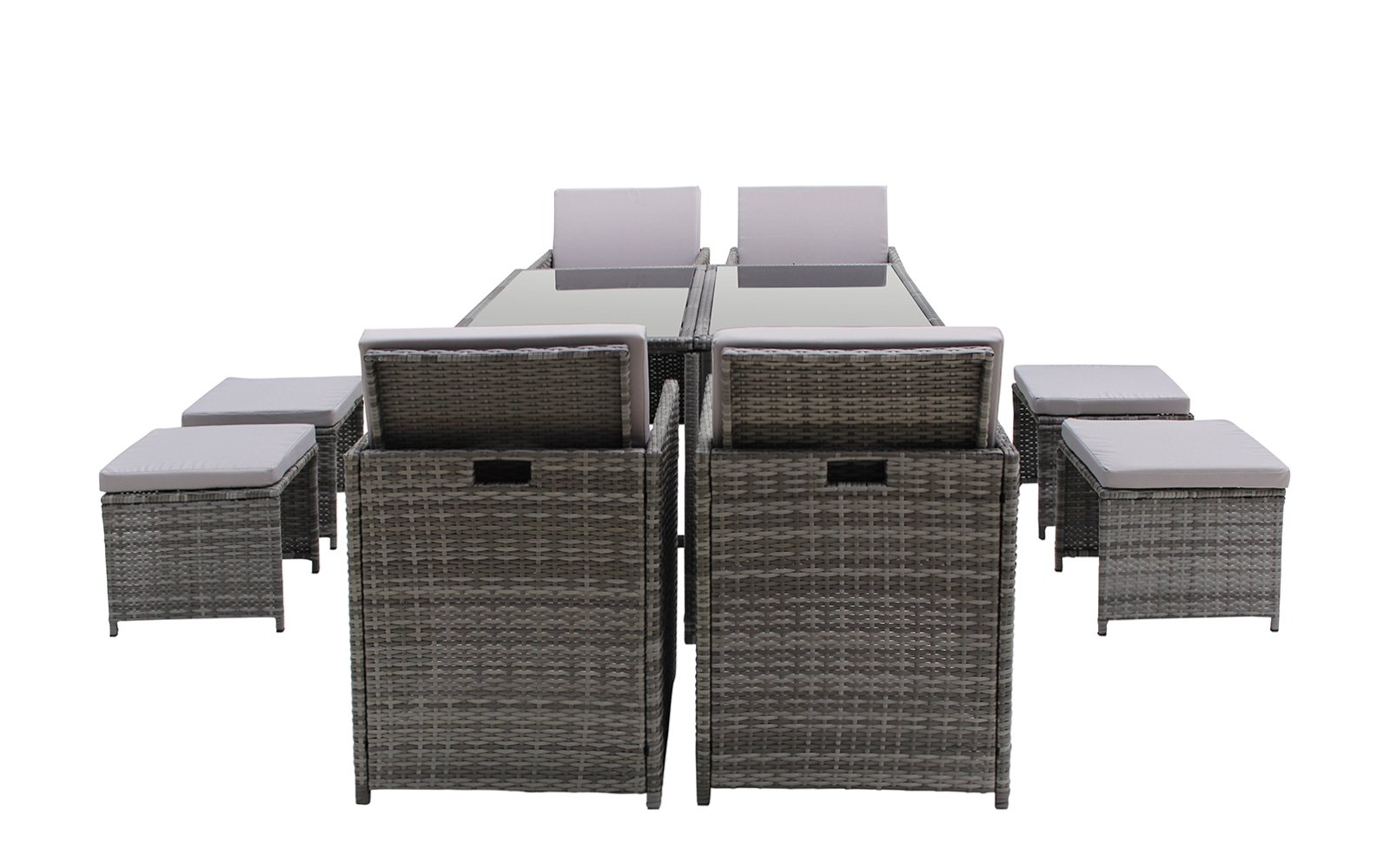 Modern 8 Piece Space Saving Outdoor Furniture Dining Set, Patio Rattan Table and Chairs Set (Grey/Grey) by Sofamania (Image #2)