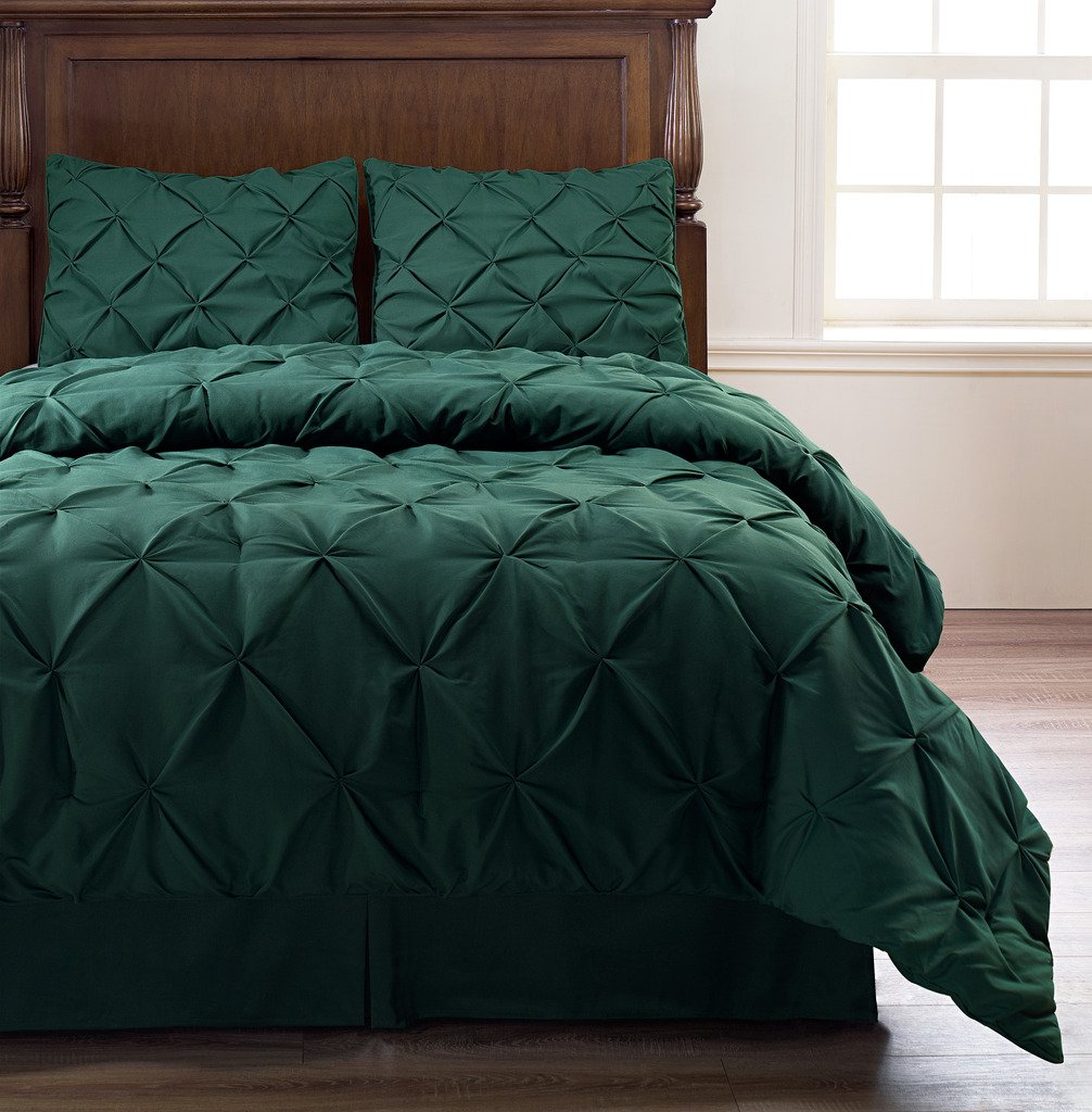 Pinch Pleat 4-Piece Comforter Set, Bed Cover | Color :Hunter Green