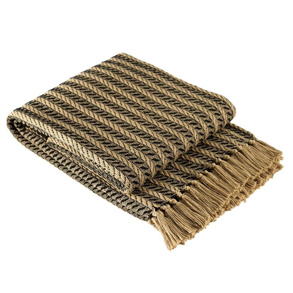 Park Designs Cable Bed Scarf - Black & Tan
