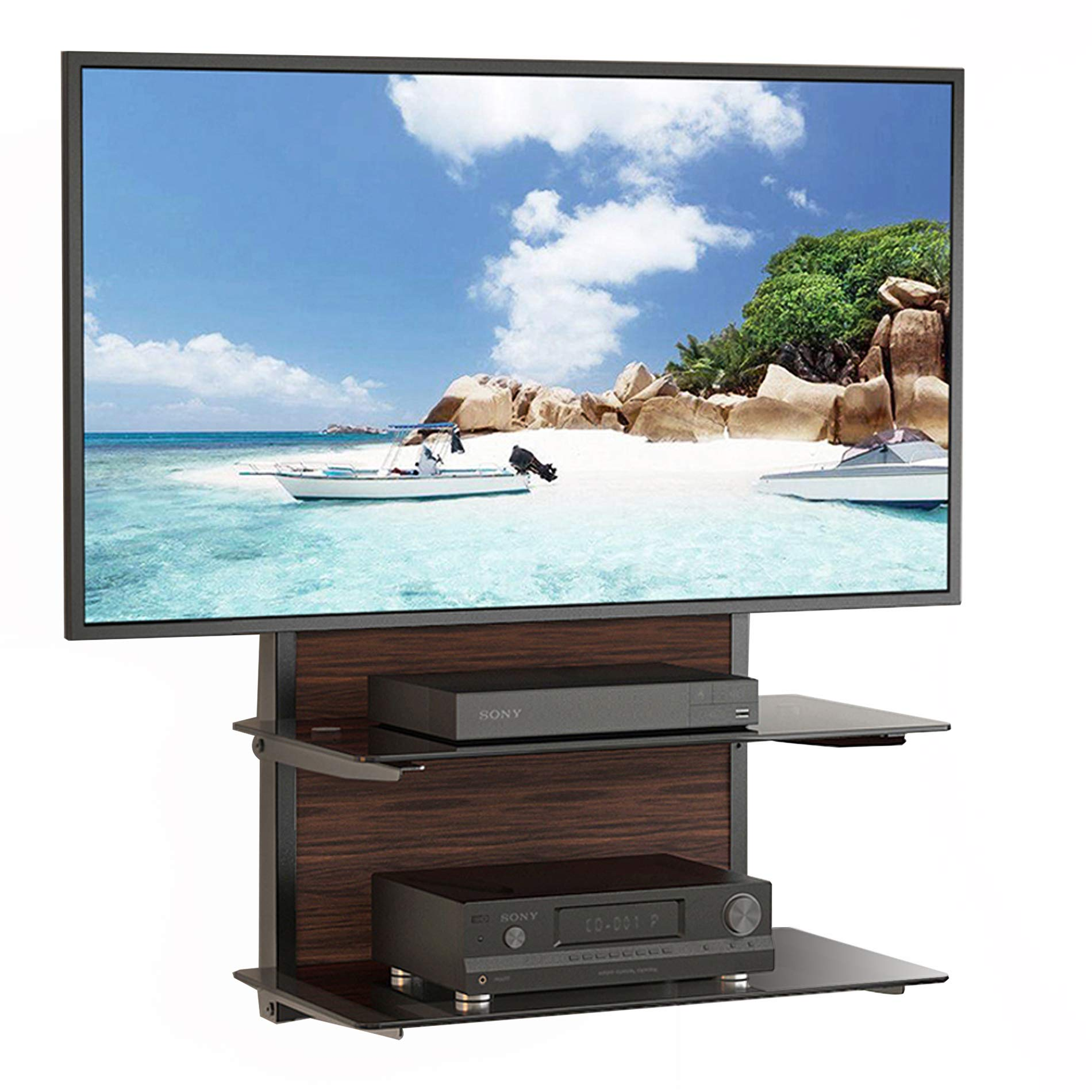 Fenge Fitueyes 2 Tier Wood Av Shelf Component Wall Mount with Tempered Glass Shelf for Dvd/xbox One/ps4/tv Component DS205401GB