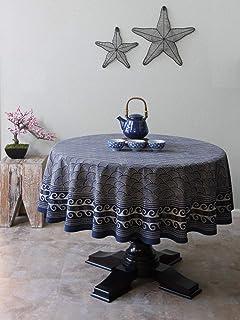 8ba3ad5e8 Saffron Marigold Japanese Tablecloth Pacific Blue   90 Round Navy Oriental  Asian Ocean Wave Decorative Tablecloths