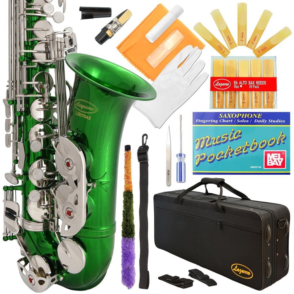 Saxofón alto verde y llaves plateadas Lazarro con funda xmp