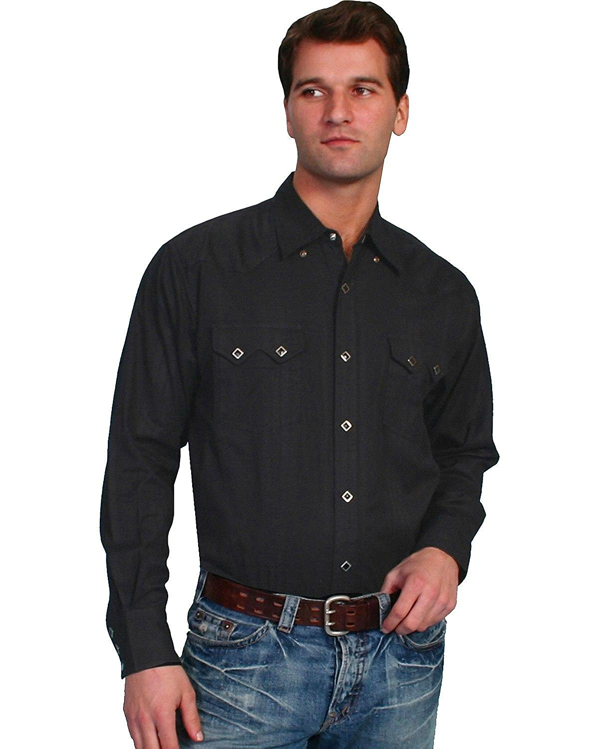 bf18ea79b7 Scully Men s Tone-On-Tone Dobby Striped Western Shirt at Amazon Men s  Clothing store