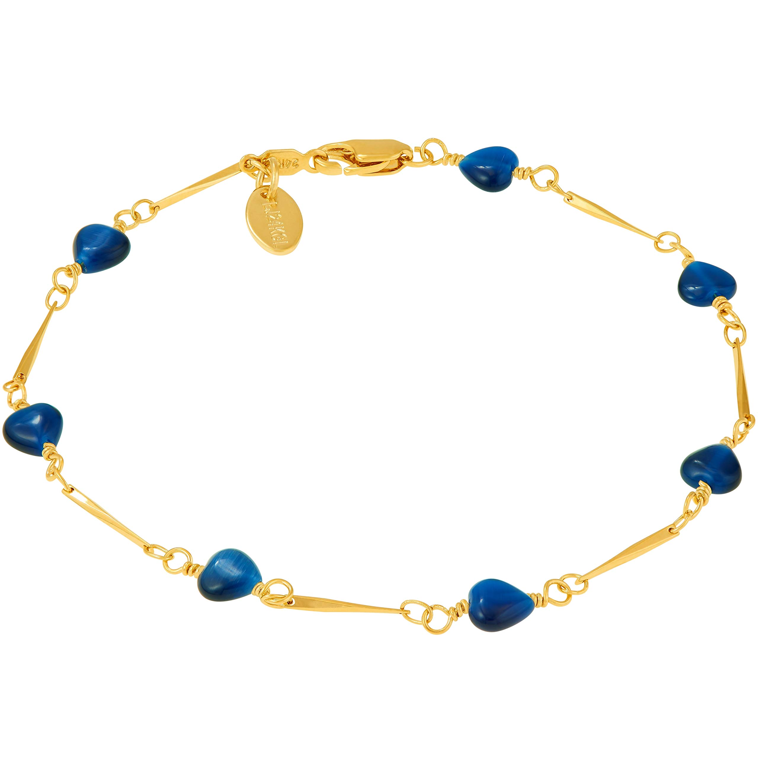 Lifetime Jewelry Ankle Bracelets for Women Men and Teens [ 24k Gold Plated Blue Hearts Anklet ] Cute & Durable Foot Jewelry for Beach or Party with Free Lifetime Replacement Guarantee (10.0)