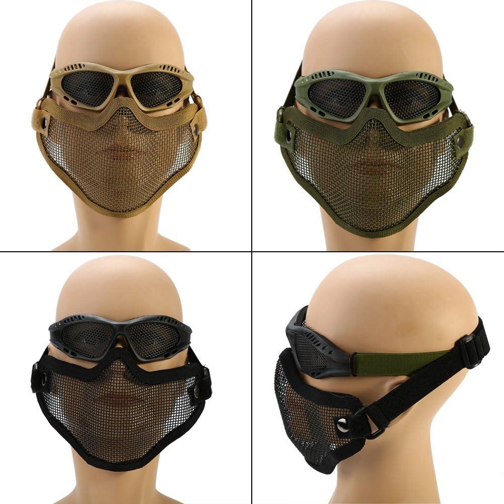 Metall Mesh Maske Half Face Schutzmaske mit Airsoft Gl/äser f/ür Outdoor Cs Spiel