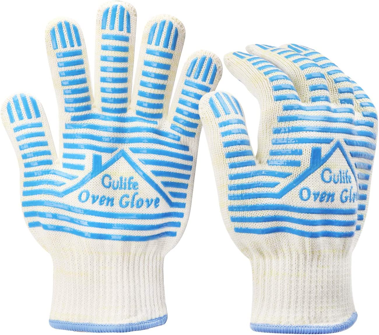 Gülife BBQ Glove Withstands Heat Up to 932F - EN407 Standard Level3, Oven Glove (Gift Packaging, 1 Pair Blue): Oven Mitts: Kitchen & Dining