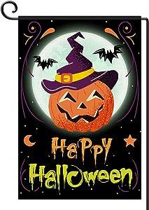 Greatingreat-Helloween Flag Style Happy Halloween Garden Flag Vertical Double Size 12×18 inch, Burlap Pumpkin Bat Decorative Garden Yard Flag-Great Decoration for Halloween-Halloween Needs-Black