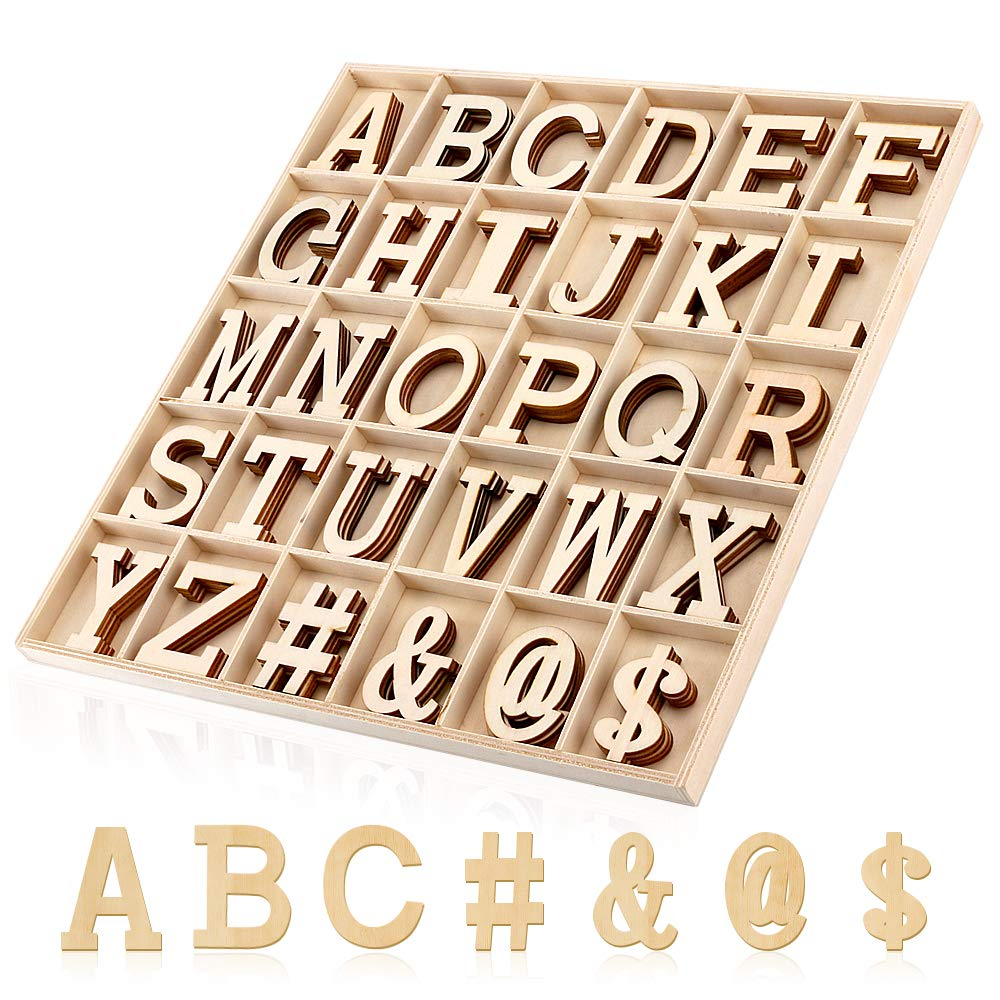 Joy-Leo 2 Inch Big Wooden Craft Alphabet Letters and Symbols with Storage Box (120pcs/Capital A to Z and 4 Symbols, Letters Wood Cutouts for Crafts & Gift Wall Décor & Education Learning and Spelling by Joy-Leo