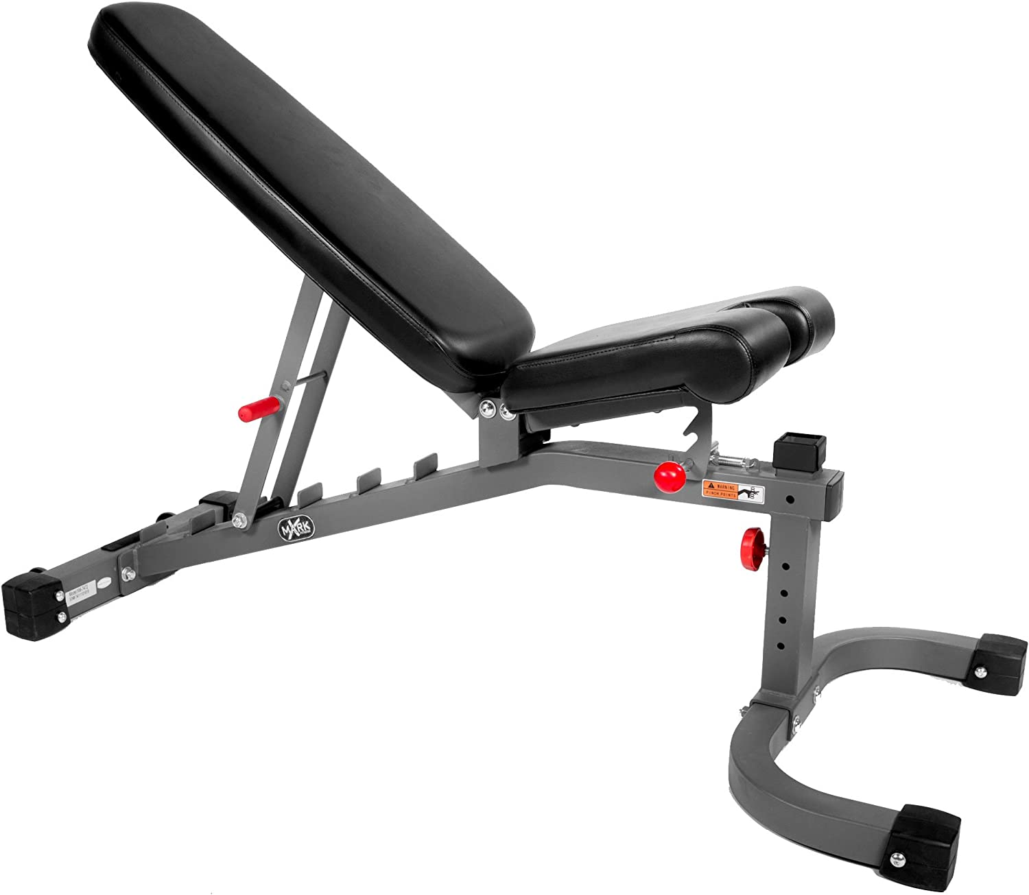 XMark Fitness Adjustable FID Weight Bench, 11-Gauge, 1500 lb. Capacity, 7 Back Pad Positions from Decline to Full Military Press Position, Ergonomic 3 Position Adjustable Seat, XM-7472 Gray or White
