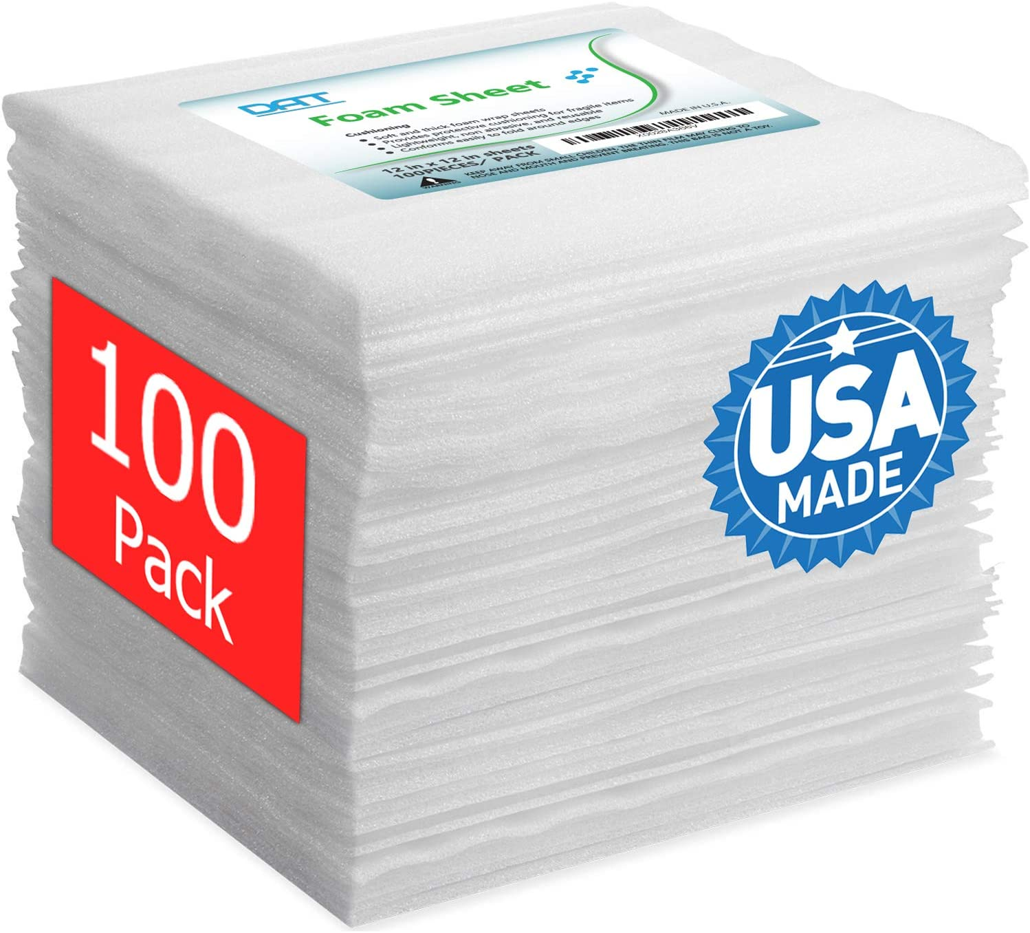 "100 Pack Foam Sheets, DAT 12"" x 12"", 1/16"" Thick, Foam Wrap Cushioning Material, Moving Supplies for Packing Storage and Shipping"