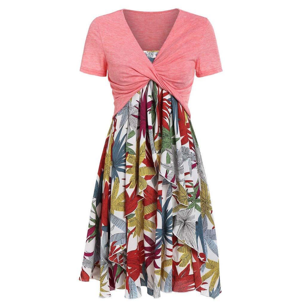 KPILP Women Dress Short Sleeve Plus Size Knot Top Floral Chiffon Irregular Hem Summer Leisure Dress Comfortable Suits