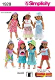Simplicity Sewing Pattern 1928 Doll Clothes, One Size