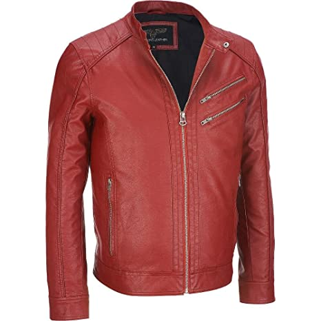 Wilsons Leather Mens Faux-Leather Moto Jacket M Red