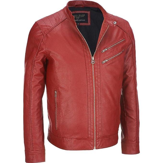 Wilsons piel moto chaqueta de piel sintética para hombre ...