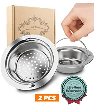 2pcs Kitchen Sink Strainer Magift Stainless Steel Sink Drain Strainer With Handle Large Wide