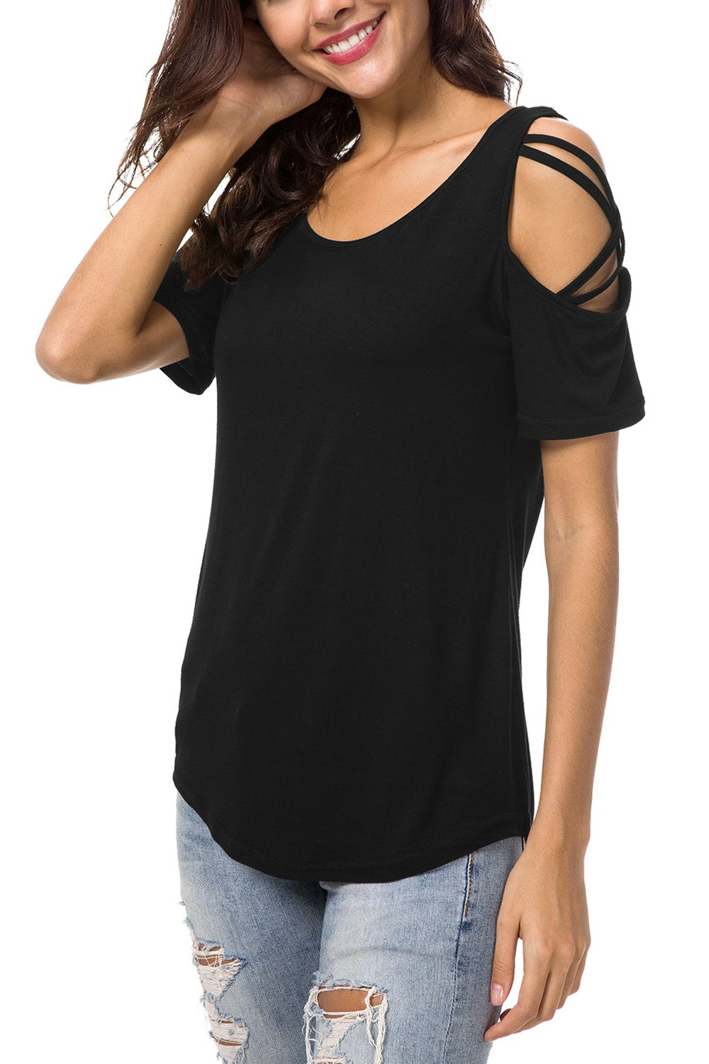 NICIAS Womens Summer Round Neck Cold Shoulder Tees Slim Tunic Tops Casual Short Sleeve Strappy T-Shirt Blouse Black M