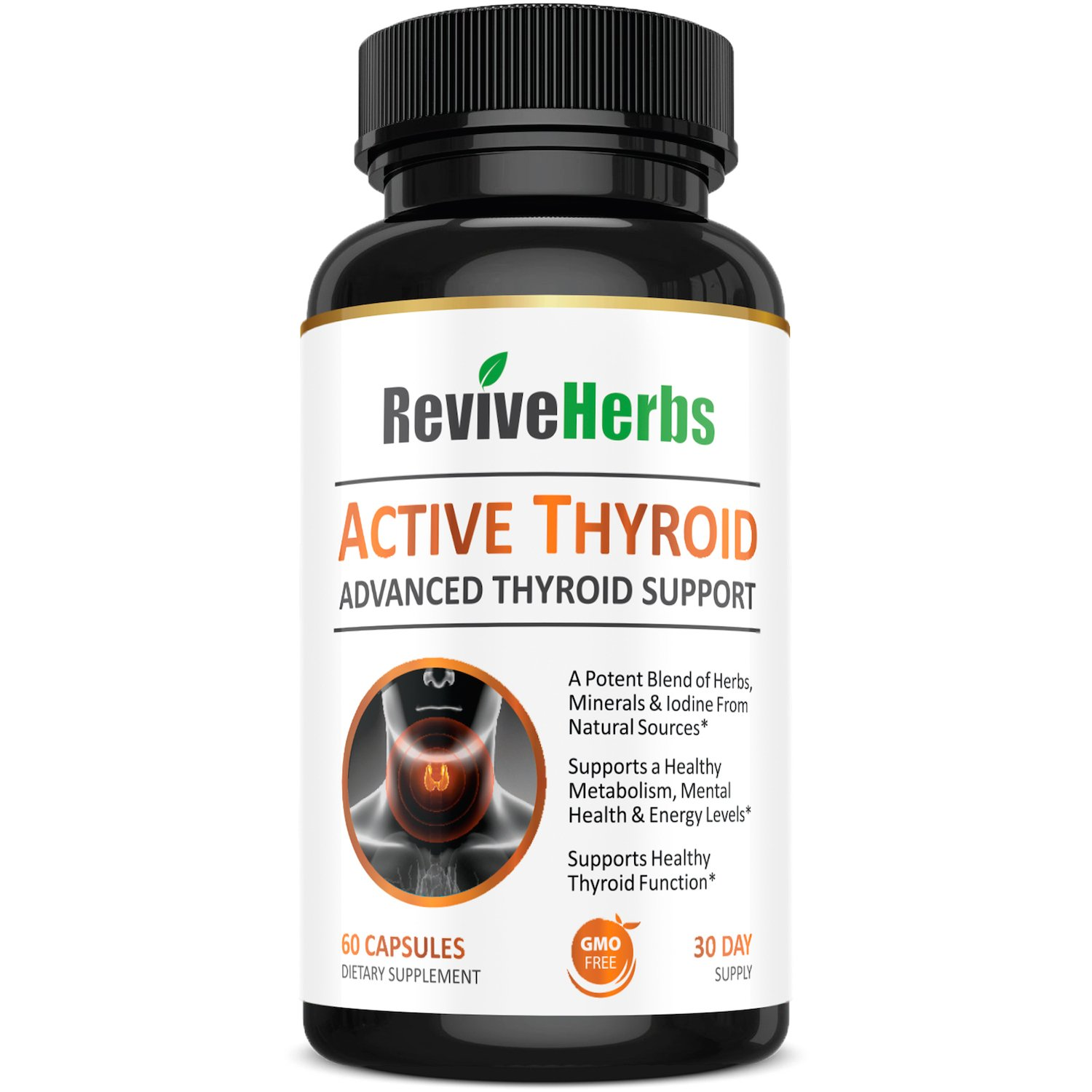 Premium Thyroid Support with Ashwagandha, Iodine, Selenium, Magnesium, Zinc, Kelp, B12 & More for Hypothyroidism, Weight Loss, Increased Energy & Metabolism by Revive Herbs by Revive Herbs