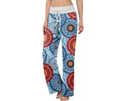 LONGYUAN Women's Comfy Pajama Pants Casual Stretch Pant Drawstring Palazzo Lounge Pants Wide Leg for All Seasons