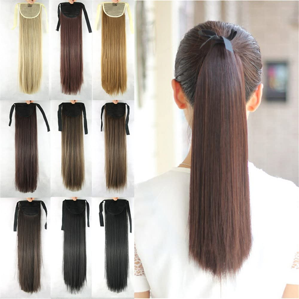 MOJUN 55cm Wrap Around Straight Long Ponytail Hair Extensions