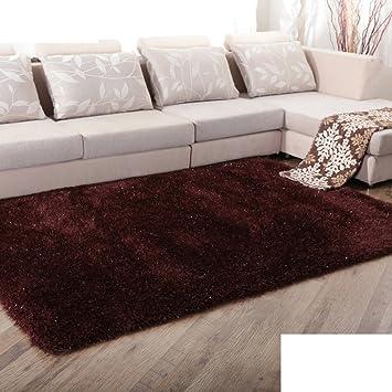 Amazon.de: Moderne Volltonfarbe Langhaar Teppich Wohnzimmer ...