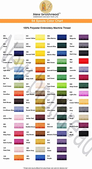 New brothread 64 Spools 1000M 1100Y Polyester Embroidery Machine Thread Kit fo