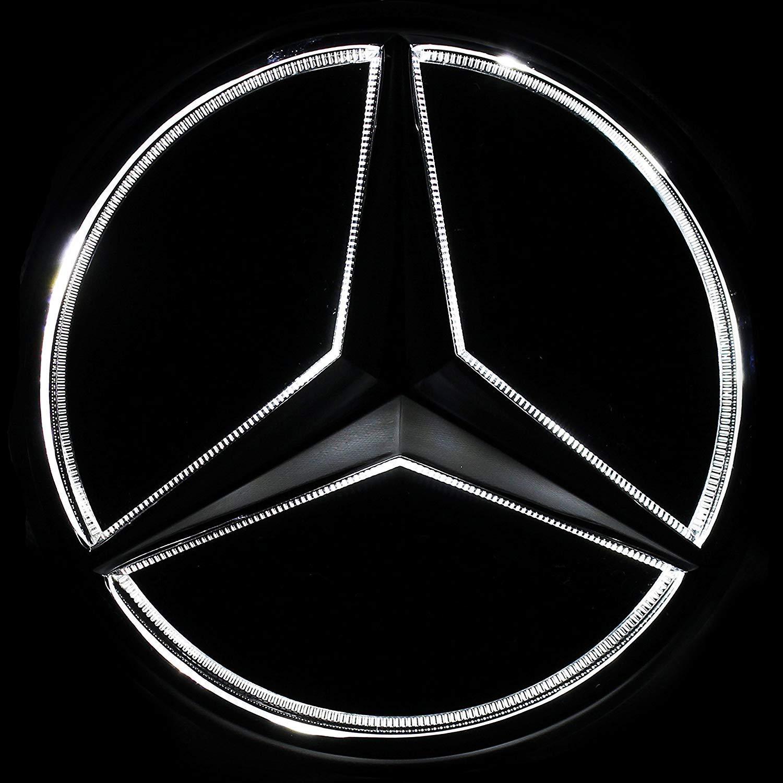 White Illuminated LED Car Logo Grid Badge for Mercedes Benz A//B//C//CLS//E//GLK//GL//R Series Front Grille LED Emblem Light