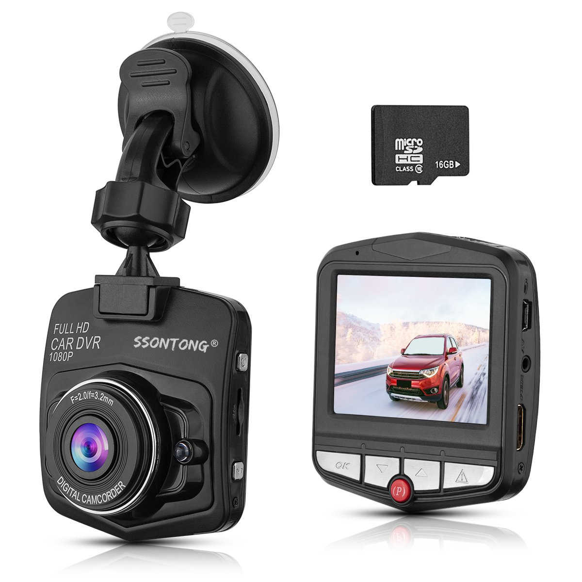 """Dash Cam,Ssontong Mini Car Dashboard Camera, Full HD 1080P 2.31"""" Screen 140 Degree Wide Angle Lens Vehicle On-Dash Video Recorder with G-Sensor,Parking Monitoring,Recording and 16GB SD Card Included"""